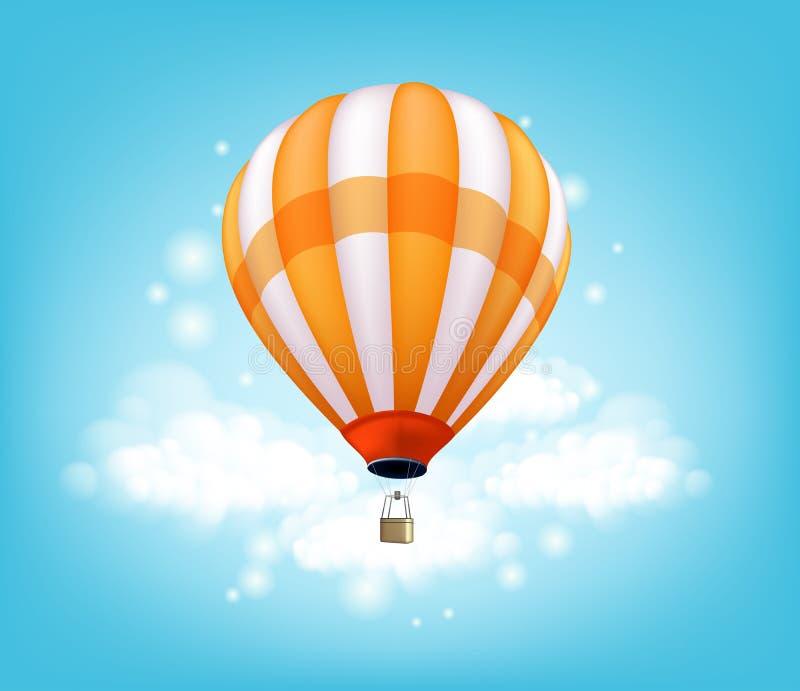 Voo colorido realístico do fundo do balão de ar quente ilustração royalty free