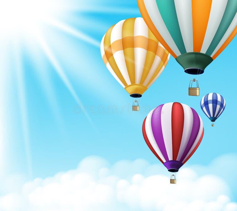 Voo colorido realístico do fundo dos balões de ar quente ilustração do vetor