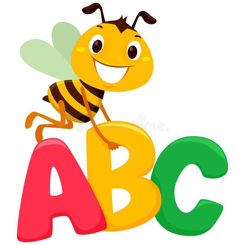 Voo da abelha com letras de ABC ilustração do vetor