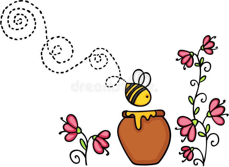 Voo da abelha com potenciômetro e flor do mel ilustração royalty free