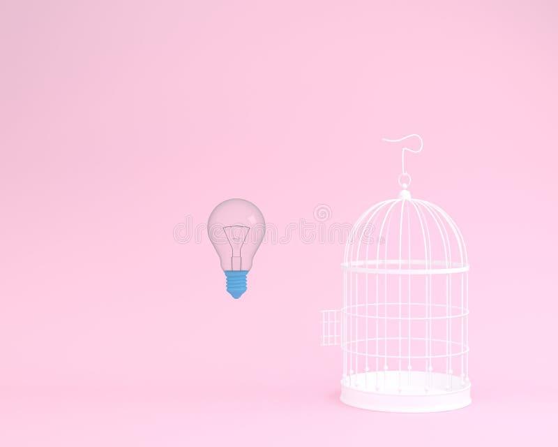 Voo da ampola da ideia fora de uma gaiola branca no fundo cor-de-rosa ilustração stock