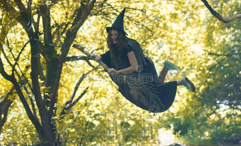 Voo da bruxa em uma vassoura E foto de stock royalty free