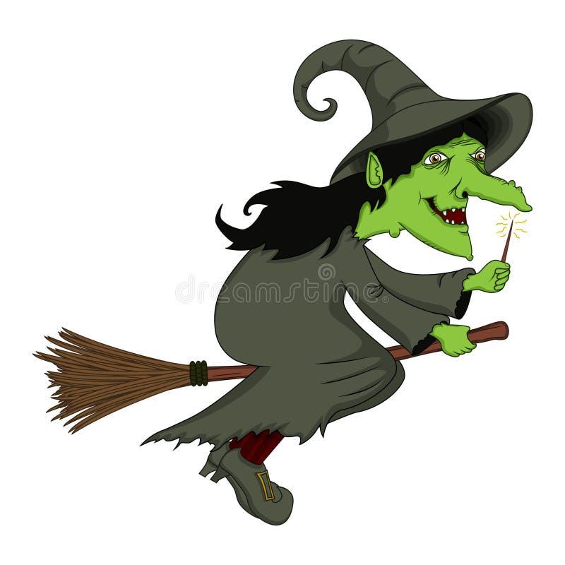 Voo da bruxa em uns desenhos animados da vassoura ilustração royalty free