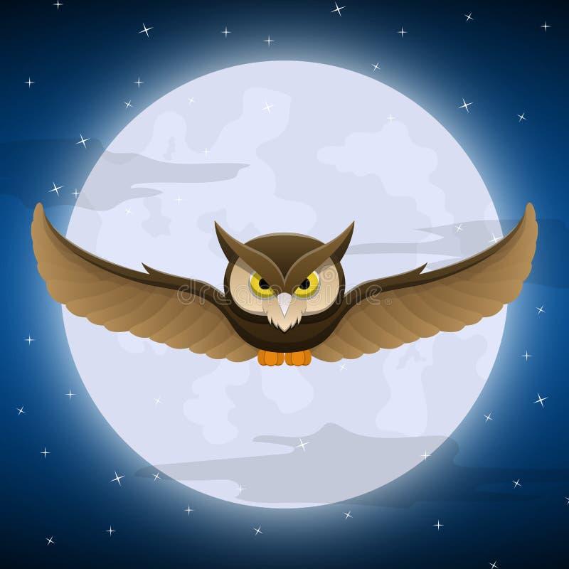 Voo da coruja com fundo da Lua cheia e da estrela ilustração royalty free