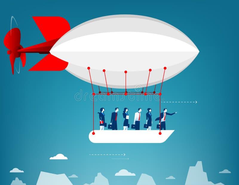 Voo da equipe do negócio no céu no balão de ar quente Vista sobre ilustração royalty free