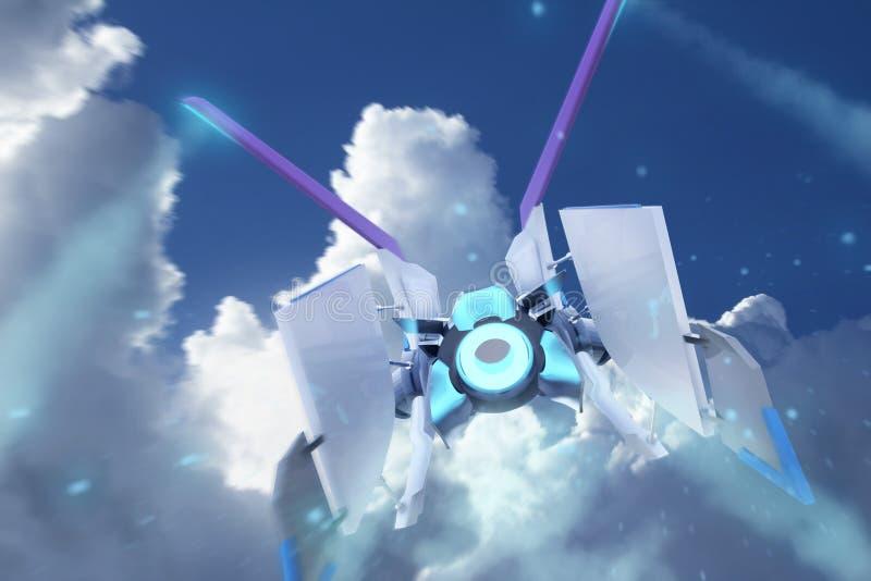 Voo da nave espacial em nuvens de uma luz do dia ilustração stock