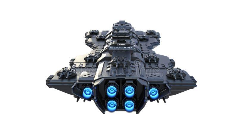 Voo da nave espacial, nave espacial estrangeira do UFO em voo isolada no fundo branco, vista traseira, 3D para render ilustração stock