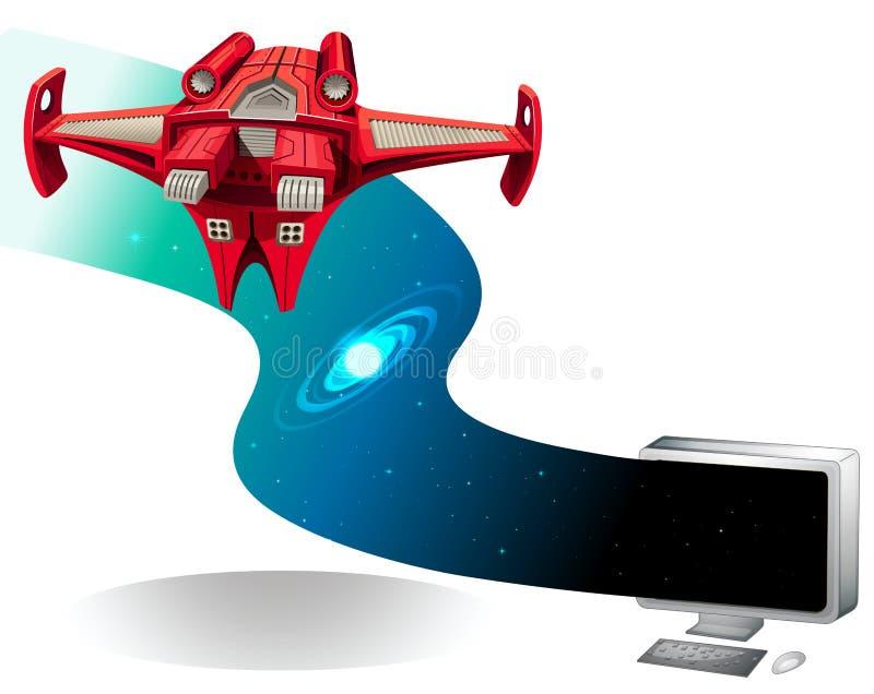 Voo da nave espacial fora do computador ilustração do vetor
