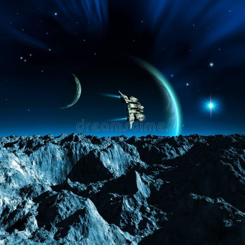 voo da nave espacial sobre uma lua com montanhas e rochas, dois planetas com atmosfera, uma estrela brilhante e a nebulosa, ilust ilustração stock