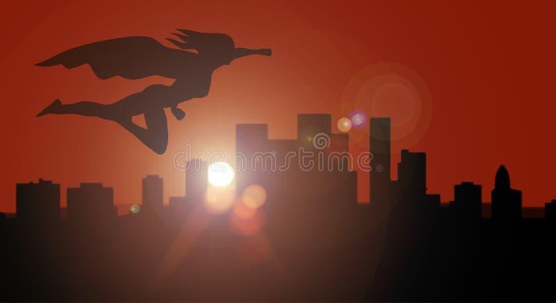 Voo da opinião lateral da silhueta da mulher do super-herói sobre a cidade no por do sol ou no nascer do sol que overwatching foto de stock