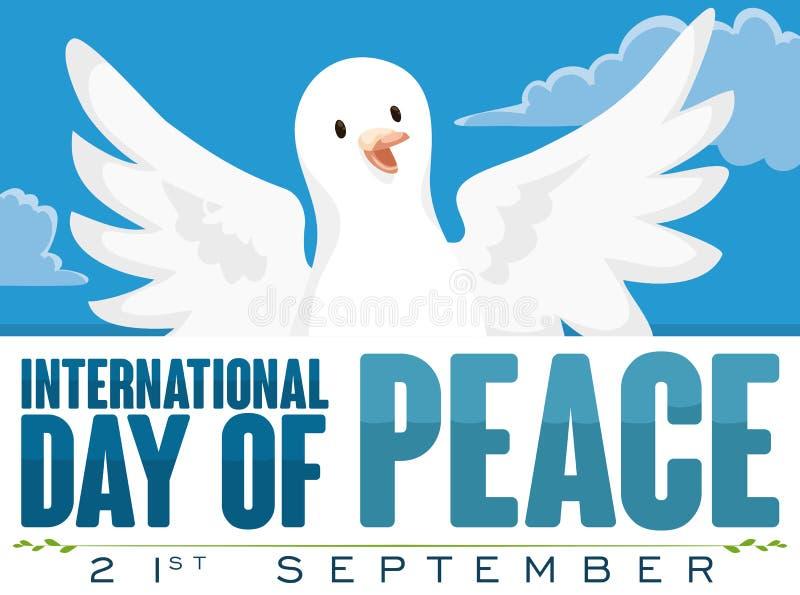 Voo da pomba no céu para o dia internacional da paz, ilustração do vetor ilustração do vetor