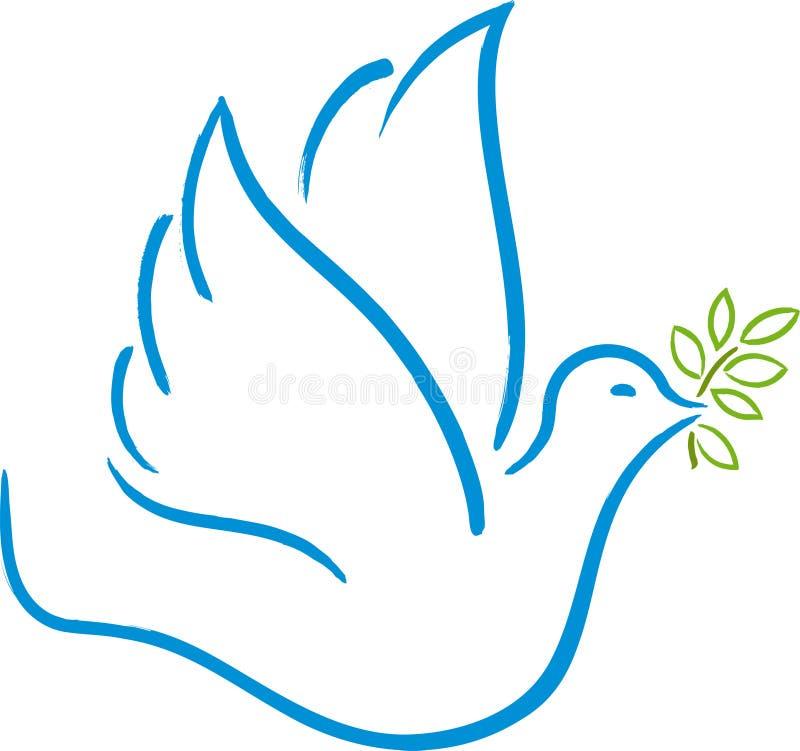 Voo da pomba da paz Cor macia e para modular linhas ilustração royalty free