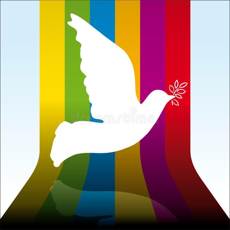 Voo da pomba da paz sobre o fundo do arco-íris 3D ilustração do vetor