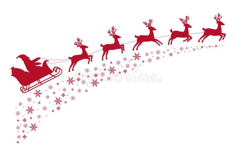 Voo da rena do trenó de Santa no fundo de estrelas cobertos de neve ilustração stock