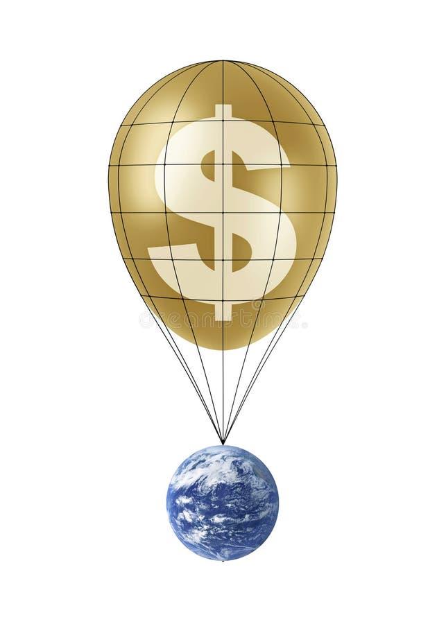 Voo da terra no balão dourado do dólar ilustração do vetor