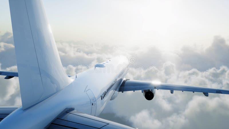 Voo de Airbus do passageiro nas nuvens conceito do curso rendição 3d ilustração stock