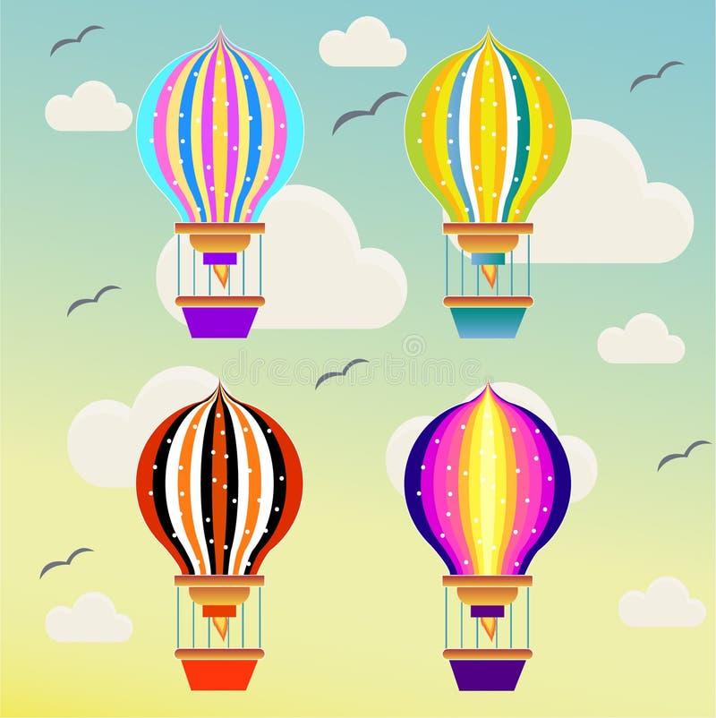 Voo de Baloons no céu ilustração stock