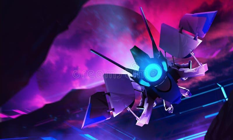 Voo de néon da nave espacial no fundo da ficção científica ilustração royalty free