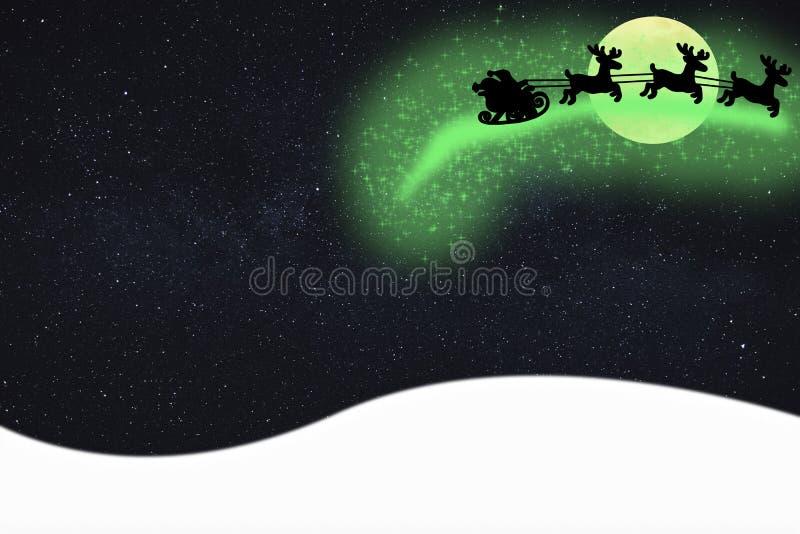 Voo de Papai Noel do cartão do Feliz Natal no ar em seu trenó que deixa a poeira de estrela mágica da faísca na noite com um céu  ilustração do vetor