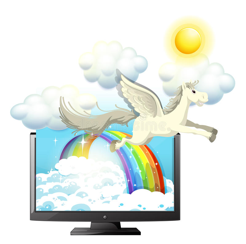 Voo de Pegasus no céu azul ilustração stock