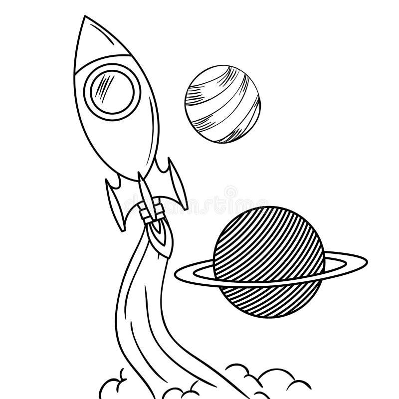 Voo de Rocket com os planetas do sistema solar ilustração do vetor