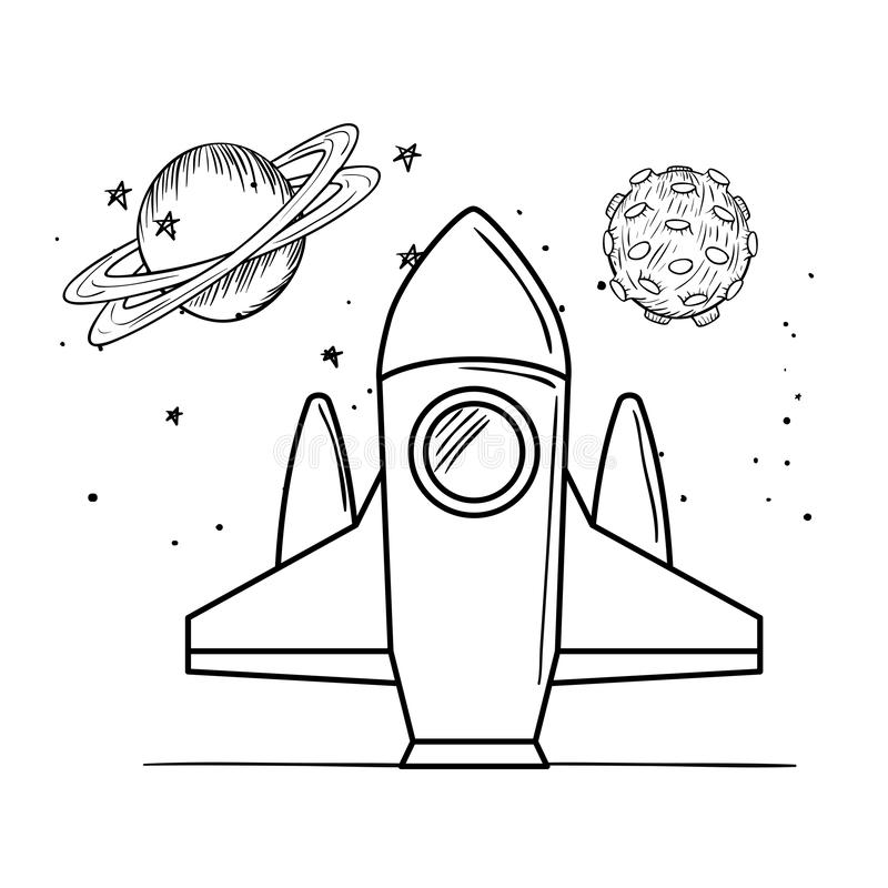 Voo de Rocket com os planetas do sistema solar ilustração stock