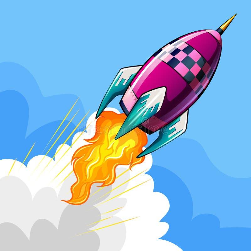 Voo de Rocket no céu ilustração stock