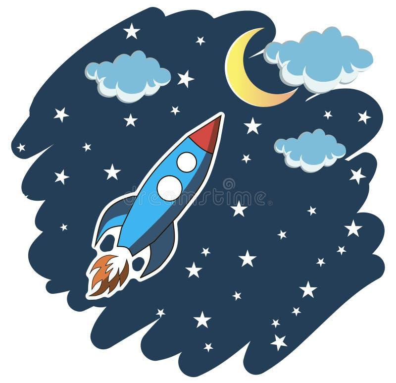 Voo de Rocket no espaço no fundo branco ilustração stock