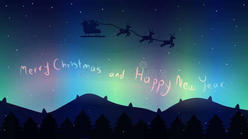 Voo de Santa através do céu noturno na floresta, luzes da Aurora e ilustração stock
