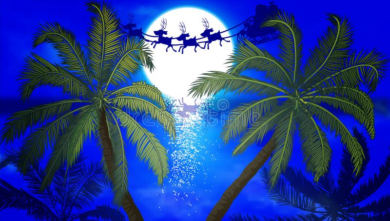 Voo de Santa Claus no fundo das palmeiras e da lua ilustração royalty free