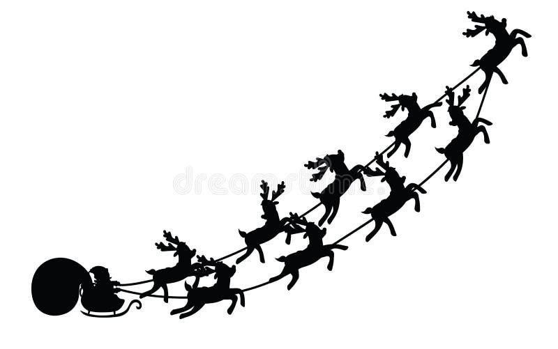 Voo de Santa em um trenó com rena Ilustração do vetor Objeto isolado Silhueta preta Natal ilustração royalty free