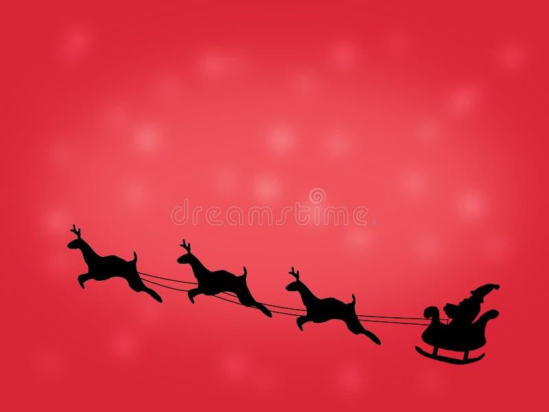 Voo de Santa em um trenó com rena objeto Natal preto da silhueta Ano novo Ilustração ilustração do vetor