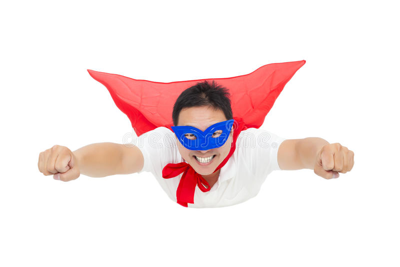 Voo de sorriso do superman com cabo vermelho Isolado no fundo branco foto de stock royalty free