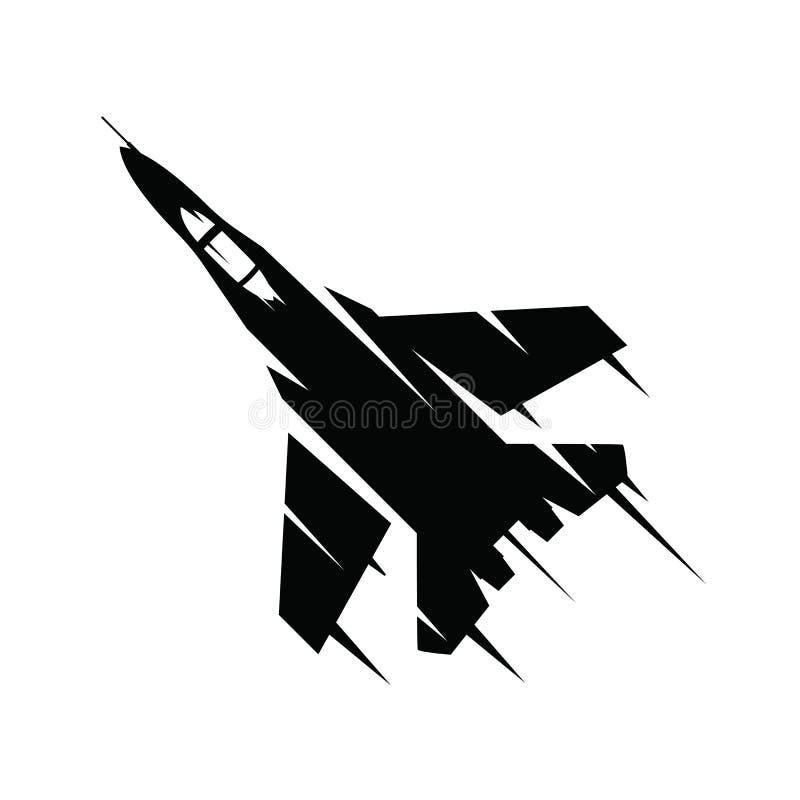 Voo do avião de combate em um fundo branco Voo militar do plano de ar no céu isolado no fundo branco ilustração royalty free