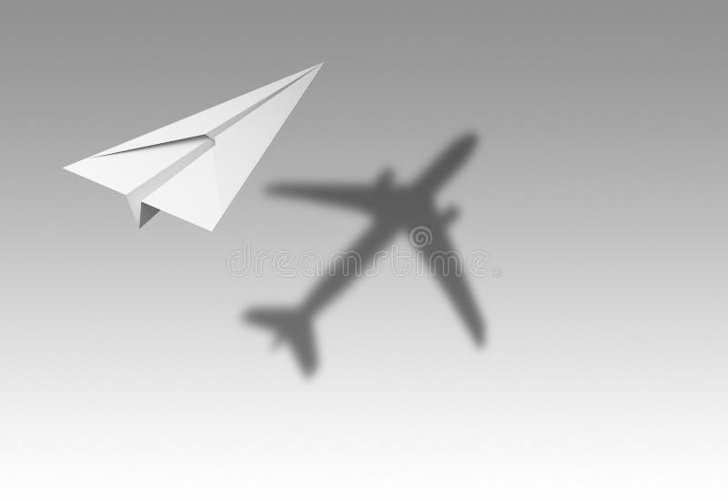 Voo do avião de papel com sombra de um avião real isolado no fundo branco no conceito da educação ou do curso Projeto ascendente  ilustração do vetor