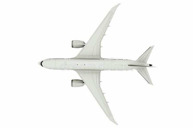 Voo do avião, isolado no fundo branco, vista superior ilustra??o 3D ilustração royalty free