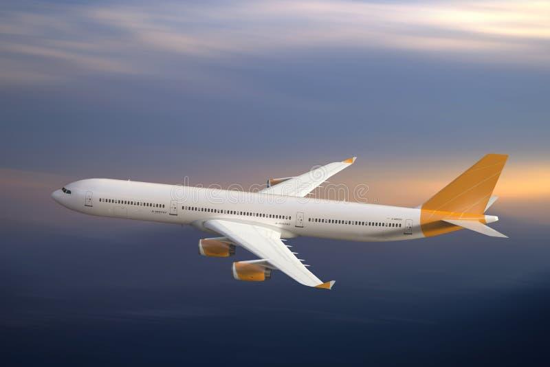 Voo do avião do jato no céu, no por do sol ilustração do vetor