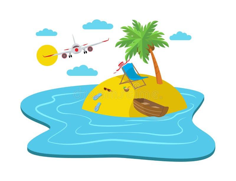 Voo do avião sobre a ilha com uma praia ilustração do vetor