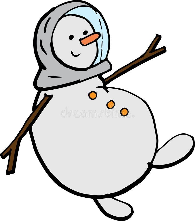 Voo do boneco de neve dos desenhos animados em um spacesuit ilustração do vetor para cartazes, cópias e papéis de parede, element foto de stock royalty free