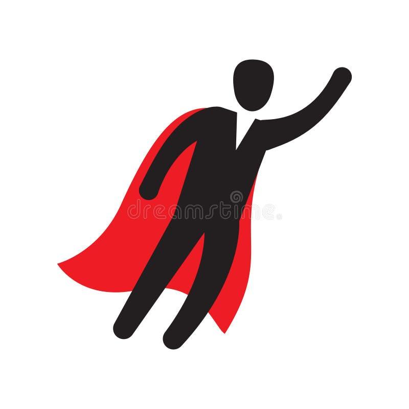 Voo do caráter do homem de negócio através do céu, como um super-herói ilustração stock