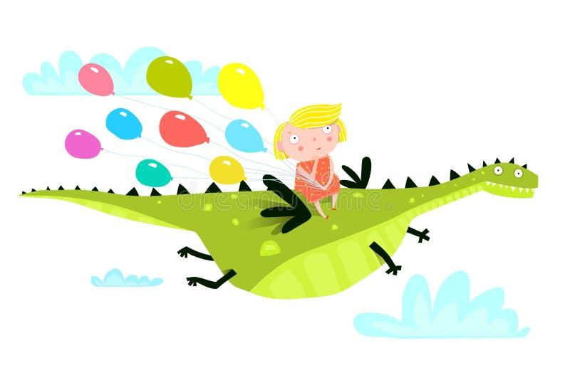 Voo do dragão ou do dinossauro com menina e balões ilustração royalty free