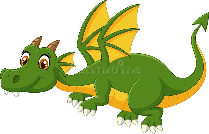 Voo do dragão verde dos desenhos animados ilustração royalty free