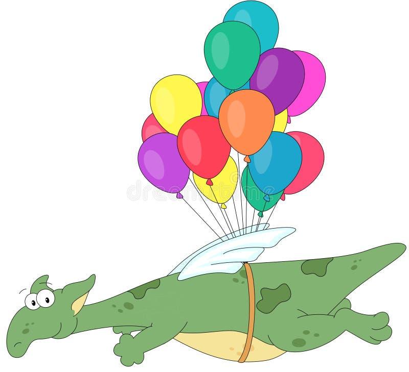 Voo do dragão verde em balões coloridos ilustração do vetor