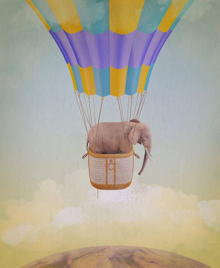 Voo do elefante em um balão. ilustração royalty free