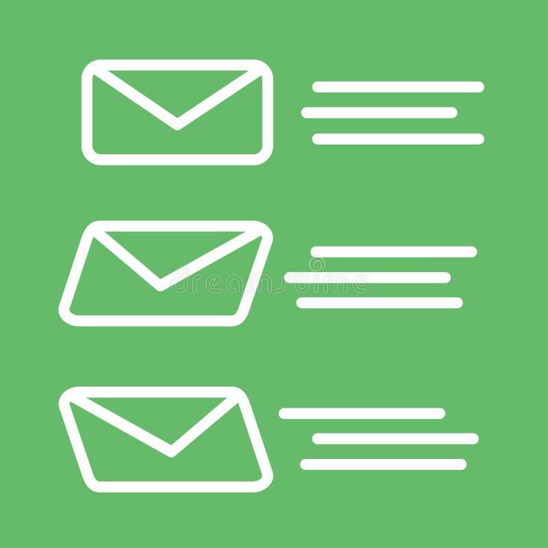 voo do envelope da entrega de correio três ao receptor ilustração do vetor