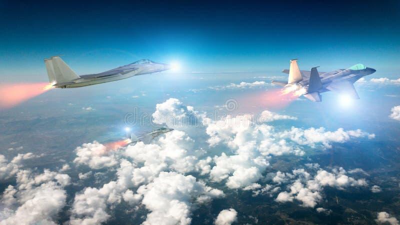 Voo do esquadrão F-15 nas nuvens Modelos da ?guia F-15 Avi?o militar no v?o ilustração stock