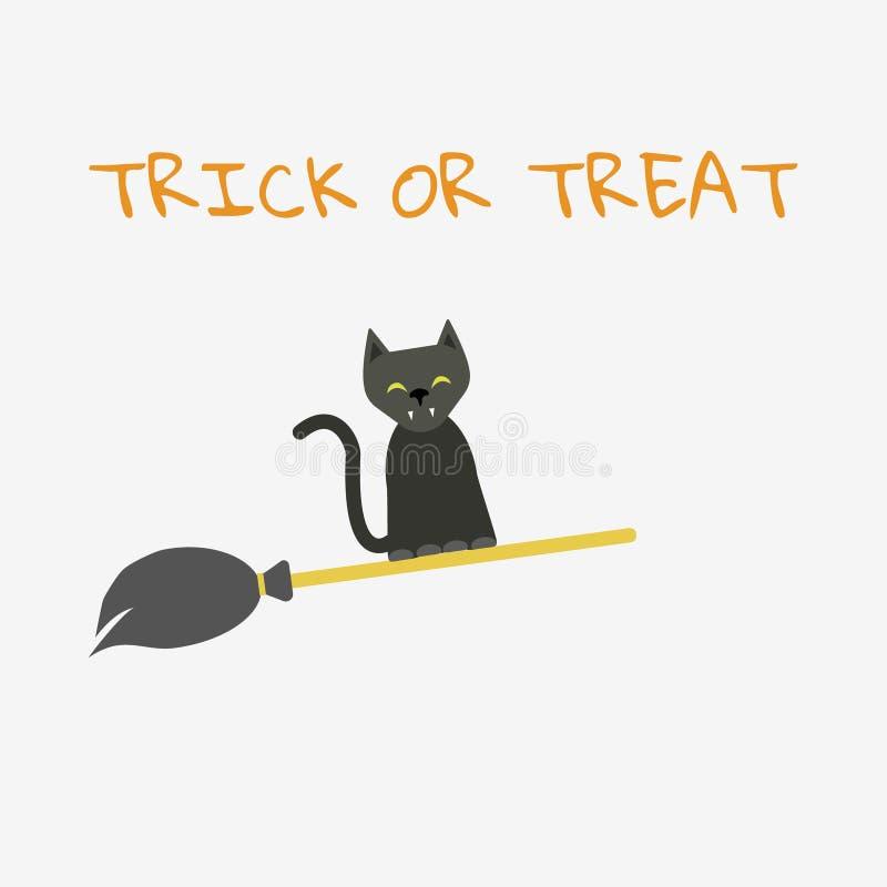 Voo do gato preto em um cabo de vassoura ilustração stock