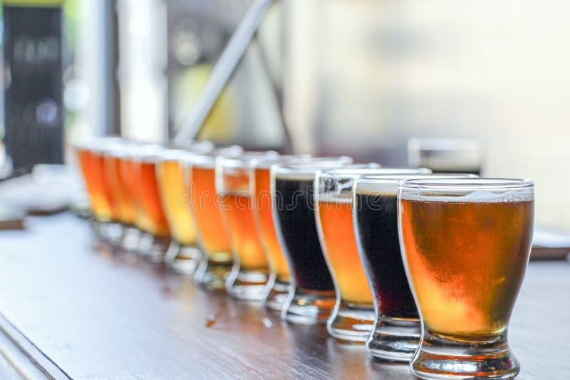 Voo do gosto da cerveja do ofício foto de stock