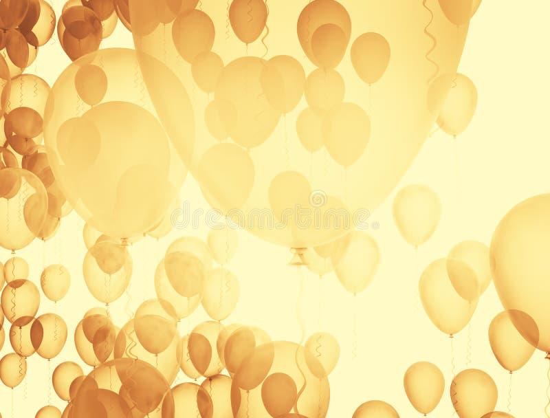 Voo do grupo dos balões dourados grande ilustração do vetor