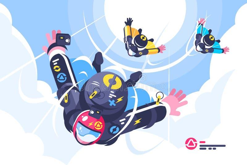 Voo do grupo dos Skydivers na queda livre ilustração do vetor